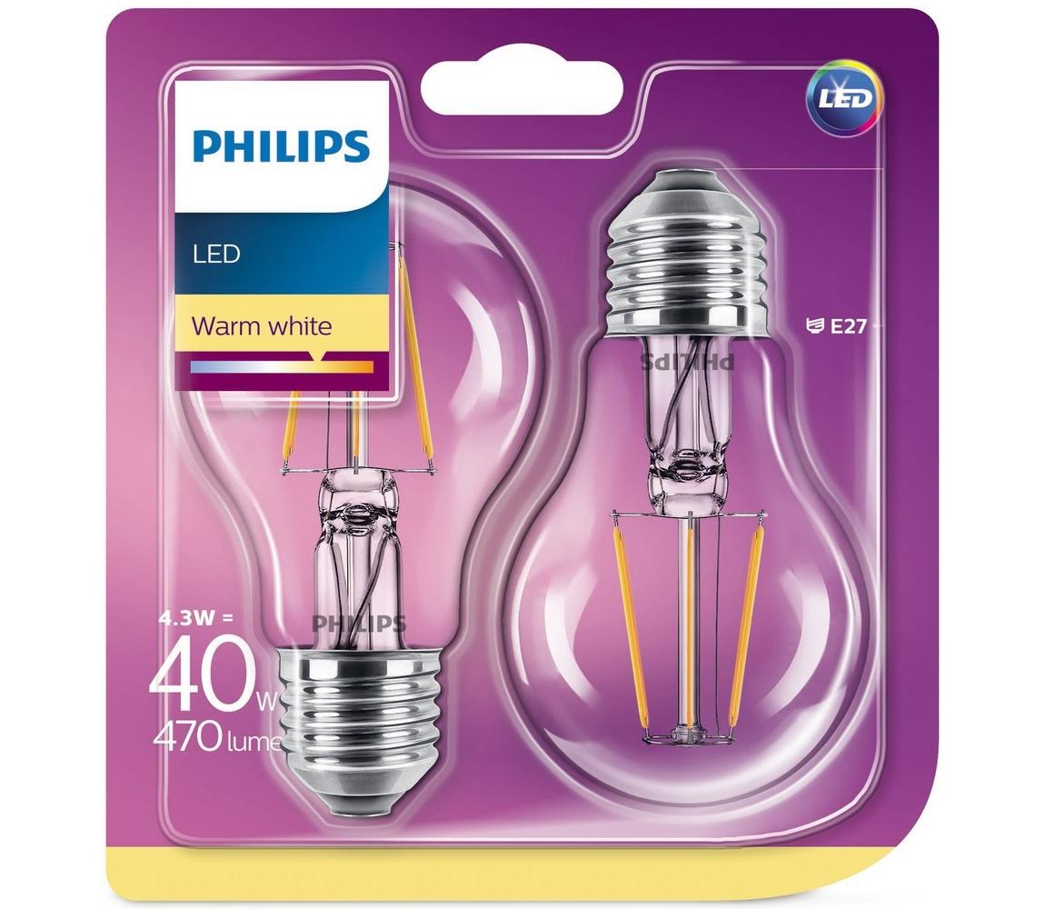 Philips SADA 2x LED Žárovka Philips E27/4,3W/230V 2700K