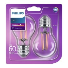SADA 2x LED žárovka Philips E27/6W - 8718696587478