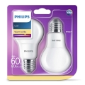 SADA 2x LED žárovka Philips E27/8W/230V