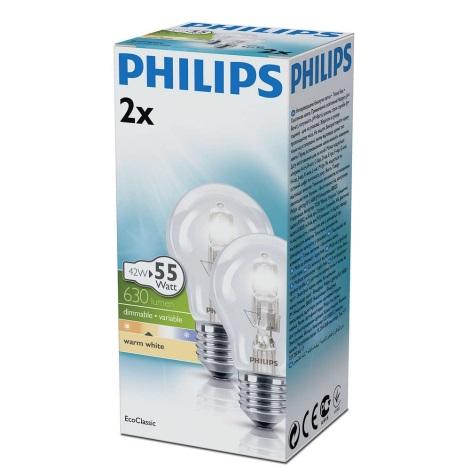 SADA 2x Stmívatelná halogenová žárovka E27/42W/230V - Philips