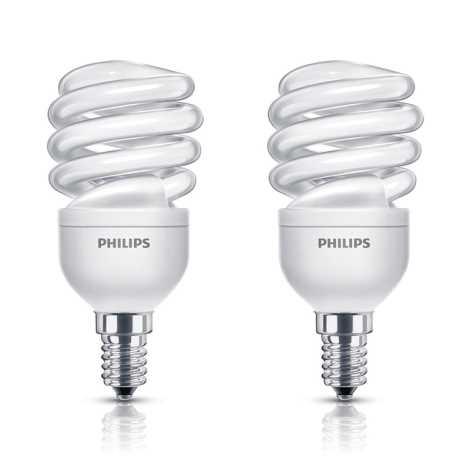 SADA 2x úsporná žárovka PHILIPS E14/12W/230V 741lm