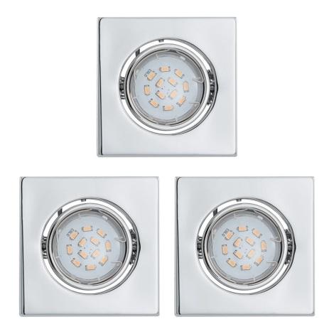 SADA 3x LED podhledové svítidlo 1xGU10/5W/230V IGOA chrom lesk