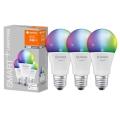 SADA 3x LED RGBW Stmívatelná žárovka SMART+ E27/9,5W/230V 2700K-6500K Wi-Fi - Ledvance