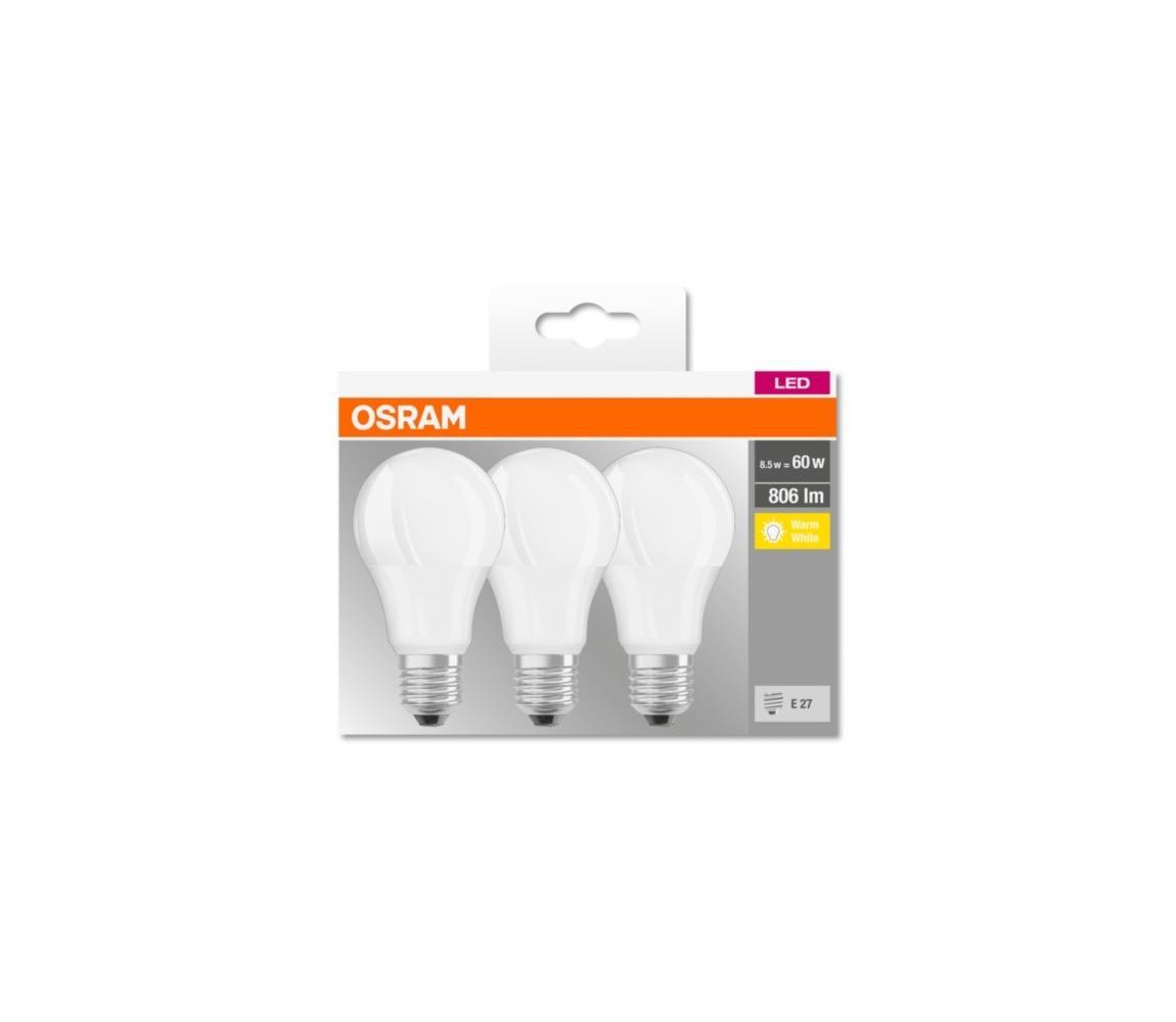 Osram SADA 3x LED Žárovka BASE E27/8,5W/230V 2700K
