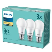 SADA 3x LED Žárovka Philips E27/6W/230V
