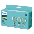 SADA 3x LED Žárovka Philips E27/8,5W/230V 2700K