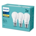 Sada 3x LED Žárovka Philips E27/9W/230V 2700K