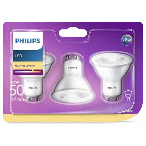 SADA 3x LED Žárovka Philips GU10/4,7W/230V
