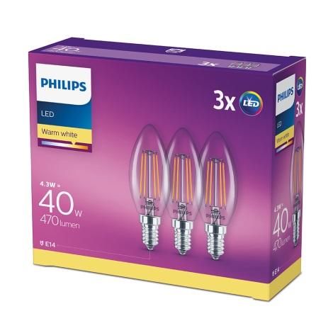 SADA 3x LED Žárovka VINTAGE Philips E14/4,3W/230V 2700K