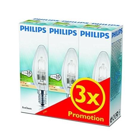 SADA 3x Stmívatelná halogenová žárovka Philips E14/28W/230V