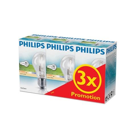 SADA 3x Stmívatelná halogenová žárovka Philips E27/70W/230V