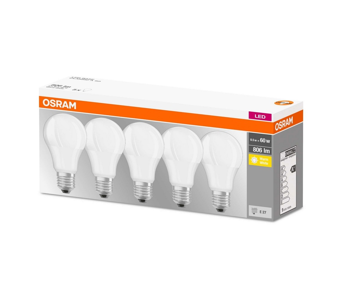 Osram SADA 5x LED Žárovka E27/8,5W/230V 2700K