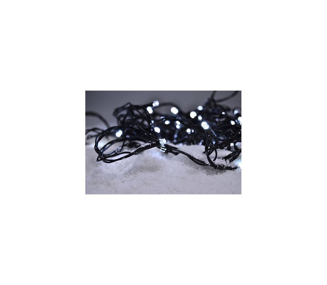 SOLIGHT Solight LED venkovní vánoční řetěz, 100 LED, 10m, přívod 3m, 8 funkcí, časovač, IP44, teplá bílá 1V101-WW
