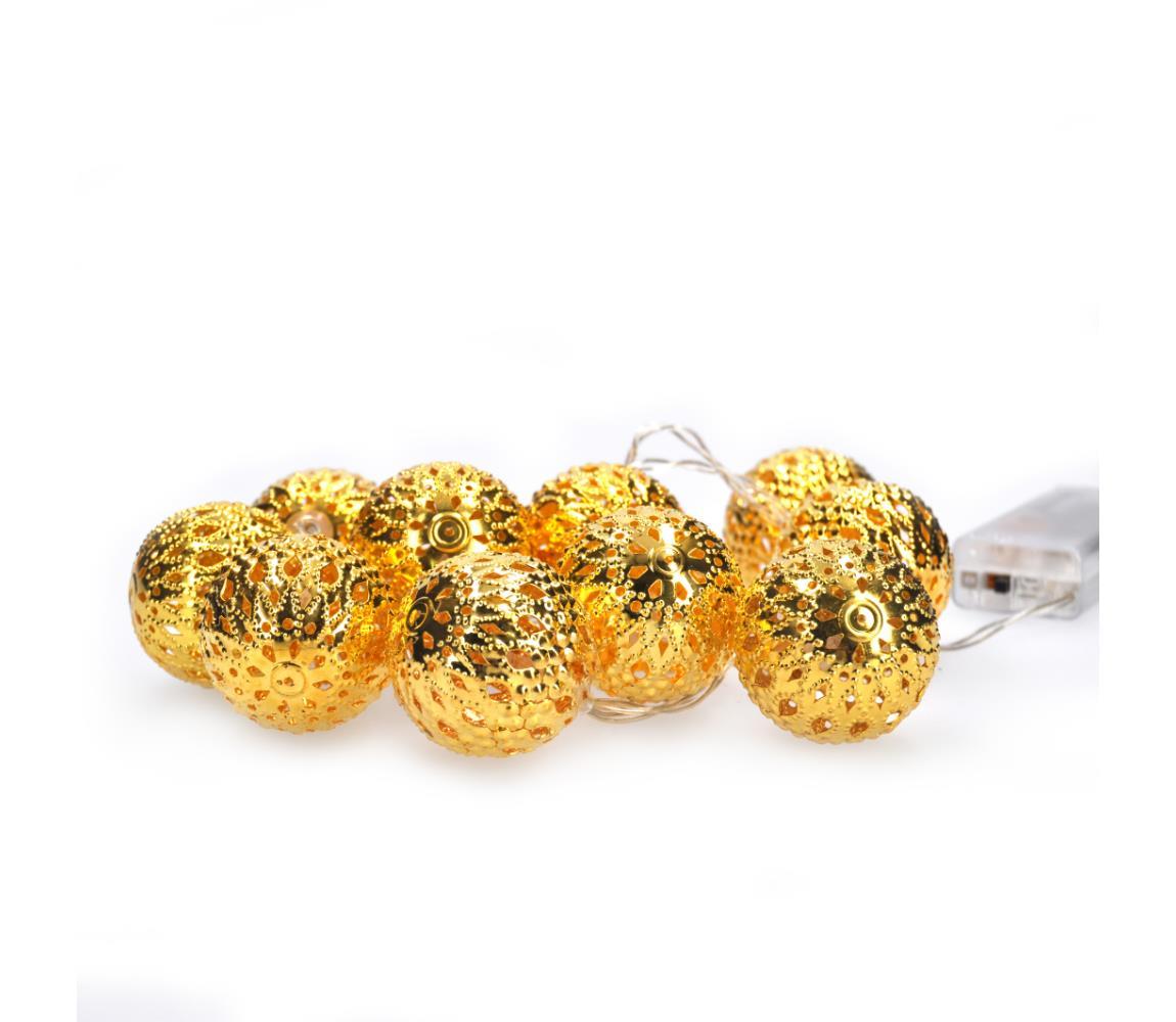 Solight LED řetěz vánoční koule zlaté, 10LED řetěz, 1m, 2x AA, IP20 , 1V207-G