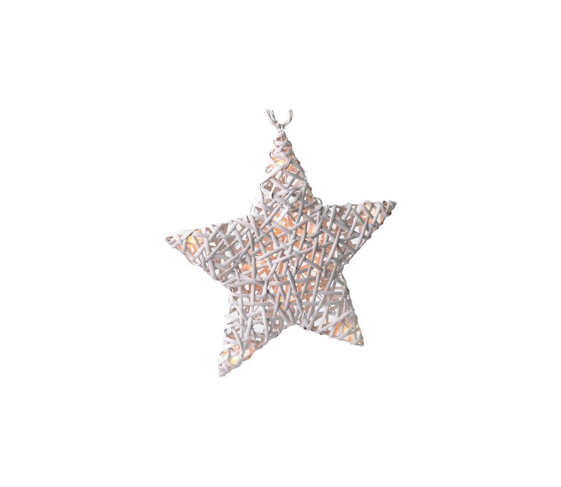 Solight ratanová vánoční hvězda, 10x LED, automatické/ruční zapnutí, 2x AA baterie, bílá