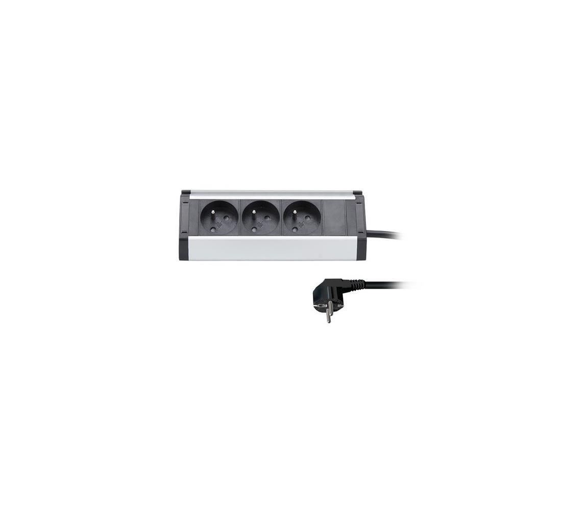 Solight prodlužovací přívod, 3 zásuvky, 1,5m, 3 x 1mm2, hliník, rohový design PP104
