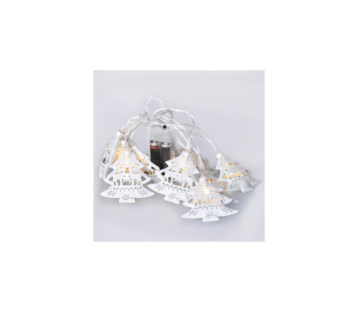 Solight LED řetěz vánoční stromky, kovové, bílé, 10LED, 1m, 2x AA, IP20 , 1V225