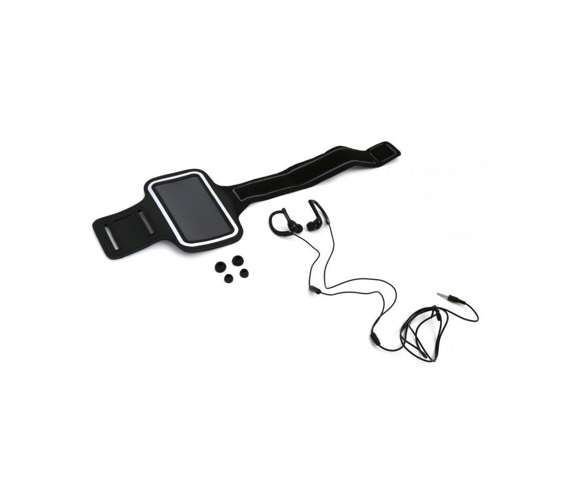 Platinet Sportovní sluchátka s mikrofonem a pouzdrem na paži černá