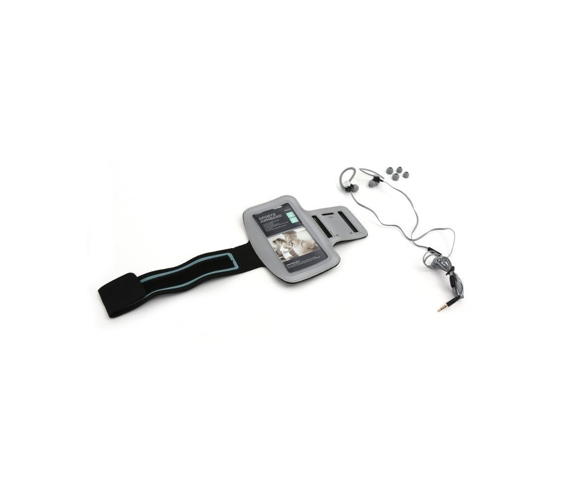 Platinet Sportovní sluchátka s mikrofonem a pouzdrem na paži šedá