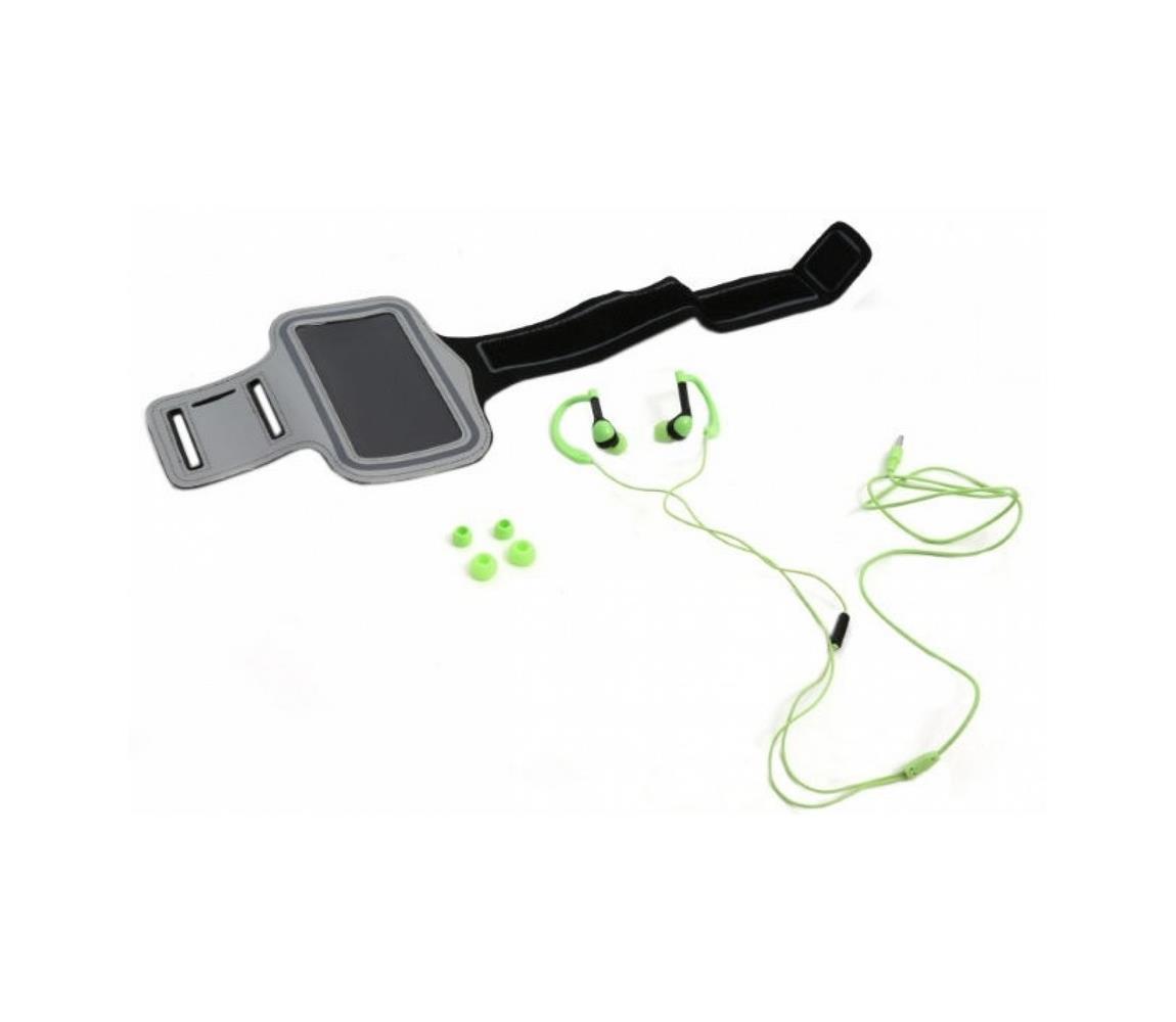 Platinet Sportovní sluchátka s mikrofonem a pouzdrem na paži zelená