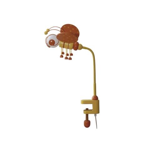 Stolní lampa VČELKA oranžová/žlutá/dřevo