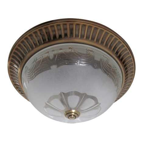 Stropní svítidlo 2xE27/60W bronz/sklo květ
