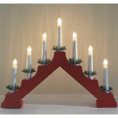 Vánoční dekorační svícen 7xE10/3W červený, tvar A