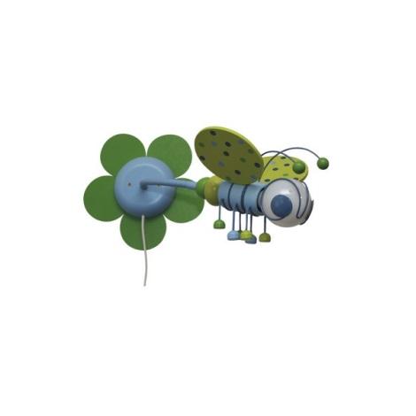 VČELKA nástěnka  zelená/sv.modrá 1xE27/60W + vypínač
