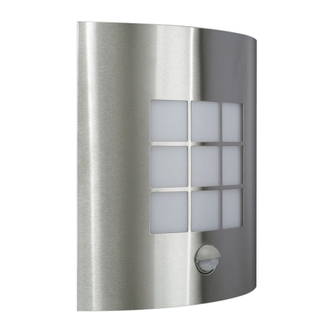 Venkovní nástěnné svítidlo s čidlem INOX 1xE27/60W/230V - 17015/47/CA