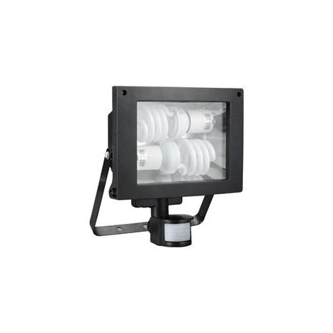 Zářivkový reflektor se senzorem TOMI 2xE27/20W/230V B černá - GXER005
