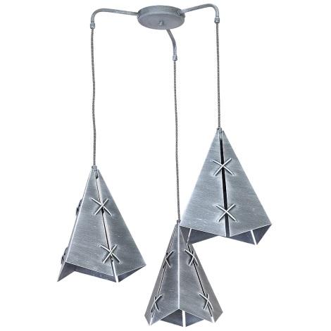 Závěsné svítidlo CONALL 3xE27/60W patina stříbrná