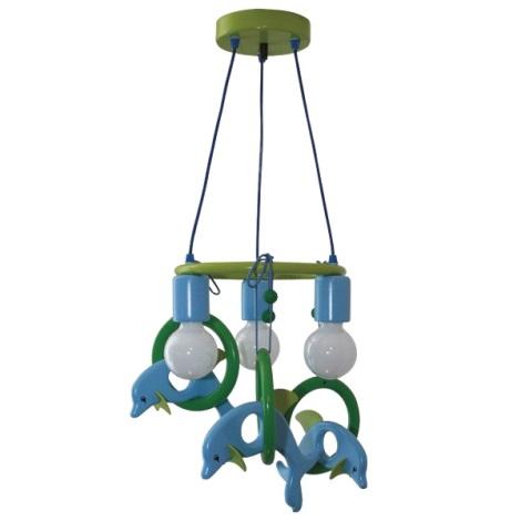 Závěsný lustr DELFÍN 3xE27/60W/230V modrá/zelená