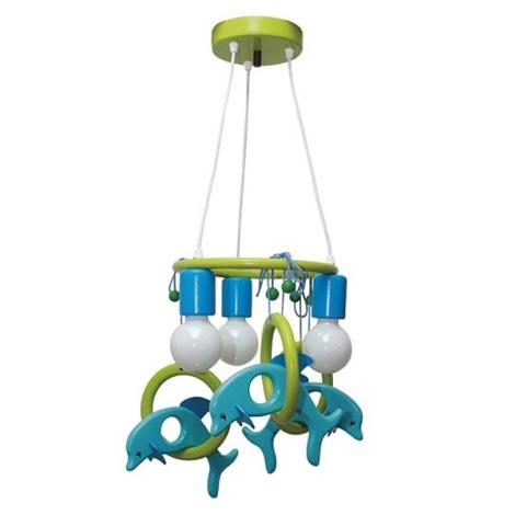 Závěsný lustr DELFÍN 3xE27/60W/230V světlá modrá/zelená