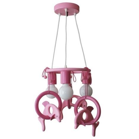 Závěsný lustr DELFÍN fialová/růžová/dřevo