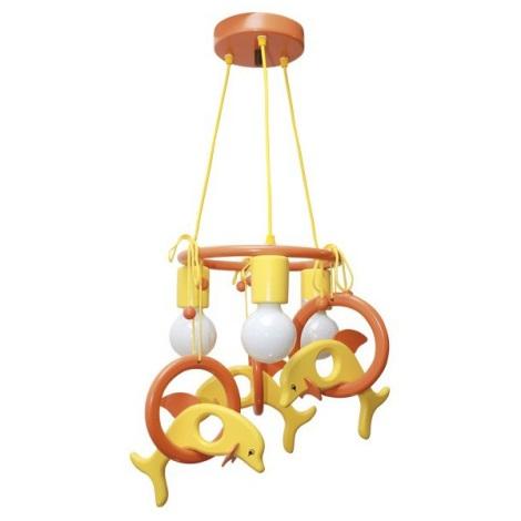 Závěsný lustr DELFÍN oranžová/žlutá/dřevo